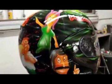 Family Guy inspired airbrush helmet