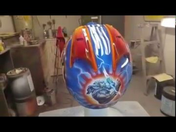 Custom Airbrushed Motorcycle Helmet for a Pro Rider