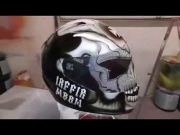 Custom Skull Design Airbrushed Helmet